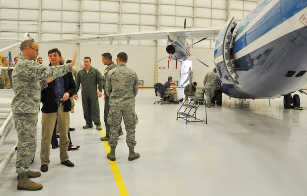 Maj. Terrell Eickner, 919th Special Operations Aircraft Maintenance Squadron commander, discusses the C-145A Skytruck mission with Steven Willman, Air Force Special Operations Directorate of Operations, at Duke Field recently. Willman was part of the AFSOC Civilian Leadership Development Group that visited with the Citizen Air Commandos to learn more about their contributions to the special operations community.  (U.S. Air Force photo/Dan Neely)
