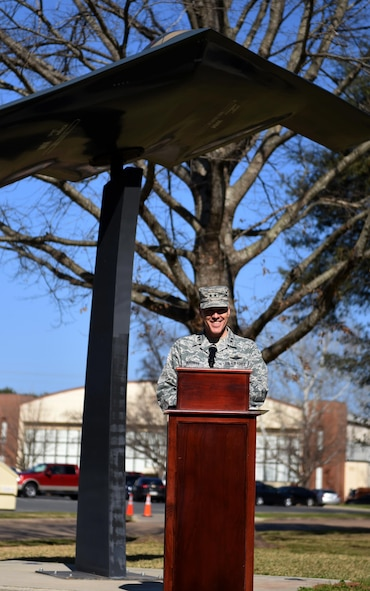 """Maj. Gen. Thomas Bussiere, 8th Air Force commander, speaks during a building dedication and cake cutting ceremony at Barksdale Air Force Base, La., Feb. 2, 2017. The 8th AF headquarters building was dedicated to General James H. """"Jimmy"""" Doolittle as part of the Eighth's 75th diamond anniversary events. (U.S. Air Force photo by Senior Airman Erin Trower)"""