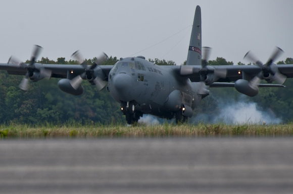 A C-130H Hercules performs touch and go training maneuvers at the 179th Airlift Wing, Mansfield, Ohio, July 28, 2016. The Ohio Air National Guard unit is always on mission to respond with highly qualified citizen airmen to execute Federal, State and community missions. (U.S. Air National Guard photo by Tech. Sgt. Joe Harwood\Released)