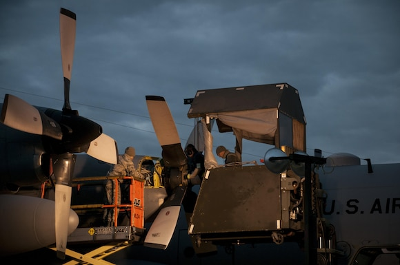 Members of the 179th Airlift Wing Maintenance Group work on the C-130H Hercules in the early morning at the 179th Airlift Wing, Mansfield, Ohio, as part of normal training operations, Oct. 26, 2016. The 179th Airlift Wing is always on a mission to be the first choice to respond to state and federal missions with a trusted team of Airmen. (U.S. Air National Guard photo by Tech. Sgt. Joe Harwood\Released)