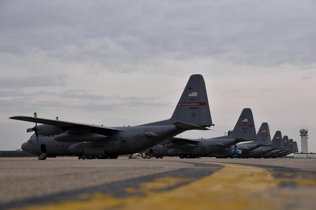 Airmen from the 179th Maintenance Group work on the C-130H Hercules on the flightline Nov. 2, 2016, at the 179th Airlift Wing, Mansfield, Ohio. The Ohio Air National Guard unit is always on mission to respond with highly qualified citizen airmen to execute Federal, State and community missions. (U.S. Air National Guard photo by Airman Megan Shepherd\Released)