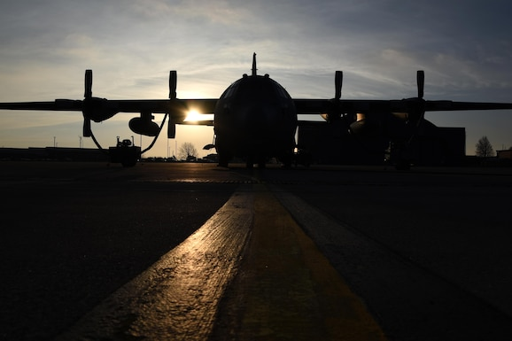 The sun rises over the flightline at the 179th Airlift Wing, Mansfield, Ohio, casting its morning glow on the C-130H Hercules on Dec. 28, 2016. The 179th Airlift Wing is always on a mission to be the first choice to respond to community, state and federal missions with a trusted team of highly qualified Airmen. (U.S. Air National Guard photo by Airman Megan Shepherd/Released)