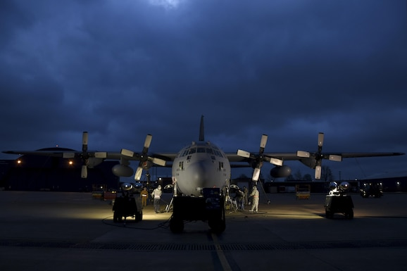 Members of the 179th Airlift Wing Maintenance Group inspect the landing gear retraction system of a C-130H Hercules by using a jacking manifold to raise the aircraft off the ground Dec. 29, 2016, on the flightline at the 179th Airlift Wing, Mansfield, Ohio. The 179th Airlift Wing is always on a mission to be the first choice to respond to community, state and federal missions with a trusted team of highly qualified Airmen. (U.S. Air National Guard photo by Airman Megan Shepherd/Released)