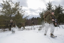 Marines with Company C, 1st Battalion, 25th Marine Regiment, 4th Marine Division, use snow shoes to patrol the rough terrain of Burwash, Ontario, during exercise Riley Xanten II, Feb. 3-5, 2017. During the exercise, the Marines joined soldiers from the Canadian Armed Forces to exchange knowledge and increase proficiency in cold weather tactics, survival skills, shelter building, ice fishing, and more. (U.S. Marine Corps photo by Sgt. Sara Graham/released)
