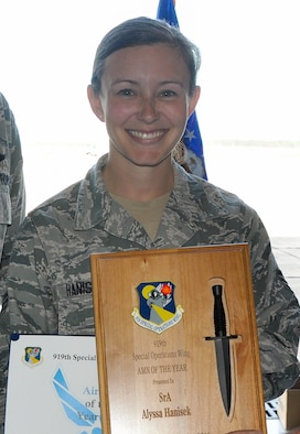 Congratulations to Senior Airman Alyssa Hanisek, 5th Special Operations Squadron, on being selected as the 919th Special Operations Wing's Airman of the Year.  (U.S. Air Force photo/Dan Neely)
