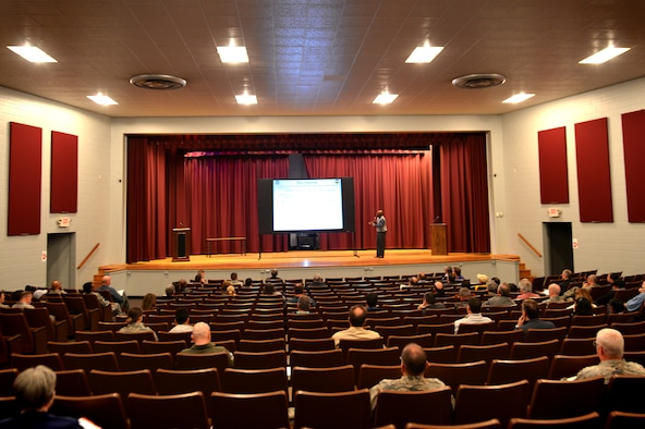 "Team Shaw members attend a Civilian Appraisal System brief at Shaw Air Force Base, S.C., Feb. 7, 2017. Civilian employees assigned to Shaw were briefed on the ""New Beginnings"" appraisal system which begins April 1. The system will be comprised of a five-three-one rating system as opposed to the current pass or fail rating system. (U.S. Air Force photo by Airman 1st Class Christopher Maldonado)"