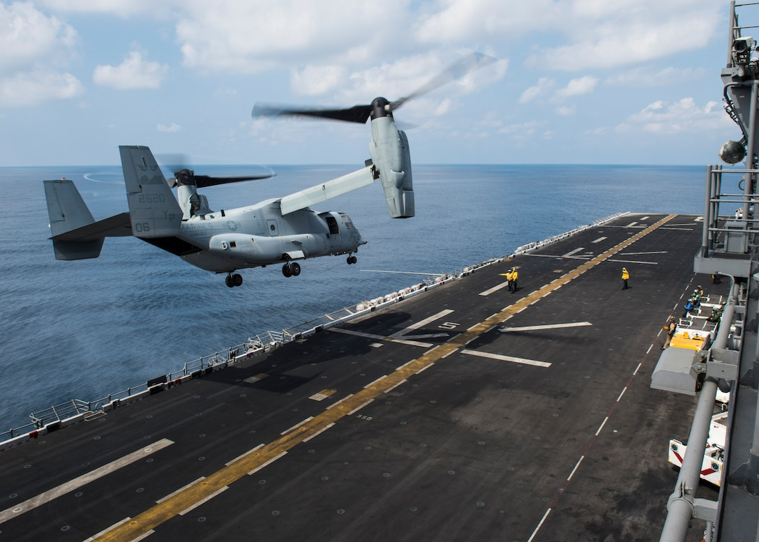 170203-N-LI768-352 GULF OF ADEN (Feb. 3, 2017) An MV-22B Osprey assigned to the Ridge Runners of Marine Medium Tiltrotor Squadron (VMM) 163 takes off from the amphibious assault ship USS Makin Island (LHD 8). The ship is deployed with the Makin Island Amphibious Ready Group to the U.S. 5th Fleet area of operations in support of maritime security operations and theater security cooperation efforts. (U.S. Navy photo by Mass Communication Specialist 3rd Class Devin M. Langer/Released)