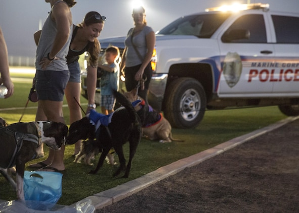 "Service members, their families and pets enjoyed prizes and treats during the ""Purple Paws for a Cause"" event hosted by the Marine Corps Community Services Family Advocacy Program at Marine Corps Air Station Yuma, Ariz., Friday, October 21, 2016."
