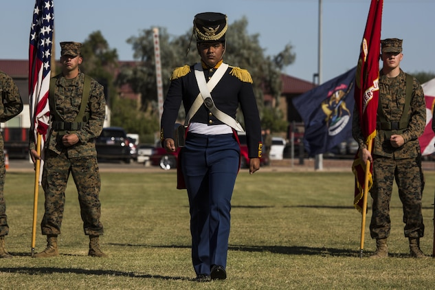 U.S. Marine Corps Lance Cpl George Melendez with Headquarters and Headquarters Squadron participates in a historical uniform pageant at Marine Corps Air Station Yuma, Ariz., Nov. 10, 2016. The uniform pageant and cake cutting ceremony are annual traditions held to celebrate the Marine Corps birthday, honor Marines of the past, present and future and signify the passing of traditions from one generation to the next. (U.S. Marine Corps photo by Lance Cpl. Christian Cachola/Released)