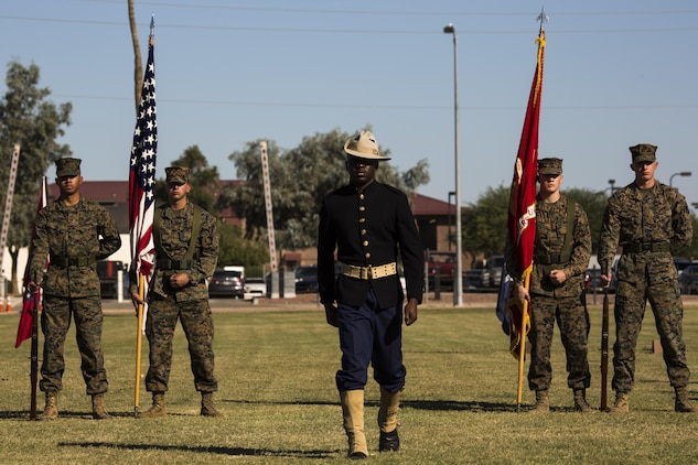 A U.S. Marine with Headquarters and Headquarters Squadron participates in a historical uniform pageant at Marine Corps Air Station Yuma, Ariz., Nov. 10, 2016. The uniform pageant and cake cutting ceremony are annual traditions held to celebrate the Marine Corps birthday, honor Marines of the past, present and future and signify the passing of traditions from one generation to the next. (U.S. Marine Corps photo by Lance Cpl. Christian Cachola/Released)