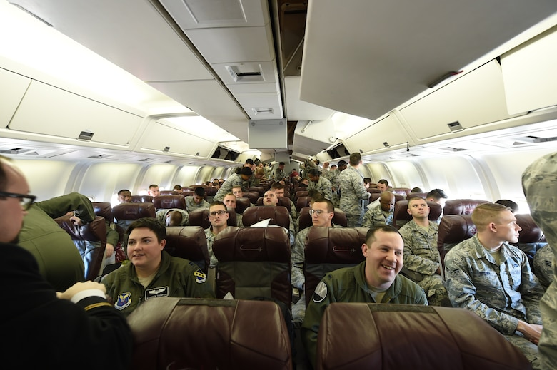 More than 300 personnel take their seats in a Boeing 767 at Dyess Air Force Base, Texas, Jan. 31, 2017. Airmen from the 7th Operations Support Squadron, 7th Maintenance Group and the 9th Bomb Squadron deployed to Guam with B-1B Lancers to replace the 34th Expeditionary Bomb Squadron from Ellsworth Air Force Base, S.D. (U.S. Air Force photo by Airman 1st Class Quay Drawdy)