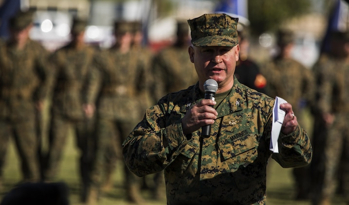 U.S. Marine Corps Col. Ricardo Martinez, the station commanding officer, addresses attendees during the cake cutting ceremony at Marine Corps Air Station Yuma, Ariz., Nov. 10, 2016. The uniform pageant and cake cutting ceremony are annual traditions held to celebrate the Marine Corps birthday, honor Marines of the past, present and future and signify the passing of traditions from one generation to the next. (U.S. Marine Corps photo by Lance Cpl. Christian Cachola/Released)