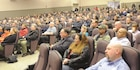 Fort Riley employees attended a town hall meeting hosted by Col. John D. Lawrence at Barlow Theater Jan 25 and 26.