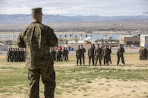 Sgt. Maj. Gabriel E. Macias, outgoing battalion sergeant major, 2nd Battalion, 7th Marine Regiment, turns to speak to the Marines and sailors during the battalion's relief and appointment ceremony at Lance Cpl. Torrey L. Gray Field, Feb. 3, 2017. During the ceremony, Macias relinquished his post as battalion sergeant major to Sgt. Maj. Jared A. Hoversten. (U.S. Marine Corps photo by Cpl. Levi Schultz)