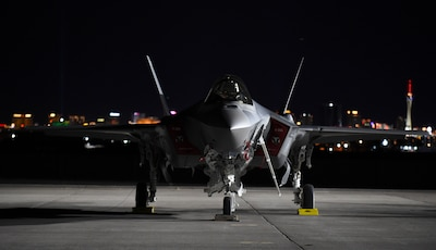 An F-35A Lightning II from the 388th Fighter Wing, Hill Air Force Base, Utah, sits on the flight line during Red Flag 17-1 at Nellis Air Force Base, Nev., Jan. 12, 2017. This was the first-time F-35A crews participated in Red Flag, the Air Force's premiere air-to-air combat training exercise. Air Force photo by Staff Sgt. Natasha Stannard