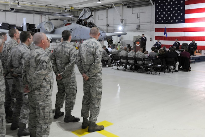 170205-Z-FN20-029 – Members of the 127th Maintenance Squadron stand in formation during an assumption of command ceremony at Selfridge Air National Guard Base, Mich., on February 5, 2017. Capt. Anthony Peplinski, the new commander of the 127th MXS delivers his speech to the audience. The 127th MXS maintains the A-10 Thunderbolt II aircraft at Selfridge. (U.S. Air National Guard photo by SrA Ryan Zeski)