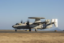 A U.S. Navy E-2D Advanced Hawkeye with Carrier Airborne Early Warning Squadron (VAW) 125, lands at Marine Corps Air Station Iwakuni, Japan, Feb. 2, 2017. VAW-125 arrived at MCAS Iwakuni from Naval Station Norfolk, Va. The E-2D Advanced Hawkeye is equipped with the most advanced airborne radar in the world, possessing systems which increase the capabilities to defend Japan and provide security in the Indo-Asia-Pacific region. (U.S. Marine Corps photo by Cpl. Aaron Henson)