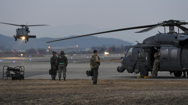 A combat search and rescue team assigned to the 33rd Rescue Squadron from Kadena Air Base, Japan, prepares to launch for a training mission during Exercise Pacific Thunder 17-1 at Osan Air Base, Republic of Korea, Feb. 2, 2017. Exercise Pacific Thunder is a Pacific Air Forces exercise that combines the rescue capabilities of U.S. and ROK air force rescue units with the close air support of A-10 Thunderbolt IIs, assigned to the 25th Fighter Squadron, in realistic training missions flown in mountainous Korean terrain. (U.S. Air Force photo by Staff Sgt. Victor J. Caputo)