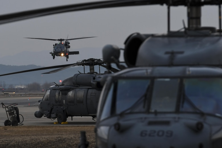 Three HH-60 Pave Hawks assigned to the 33rd Rescue Squadron from Kadena Air Base, Japan, are prepared for training missions at Osan Air Base, Republic of Korea, Feb. 2, 2017. The 33rd RQS was one of the units participating in Exercise Pacific Thunder 17-1, a Pacific Air Forces combat search and rescue exercise held in the ROK. (U.S. Air Force photo by Staff Sgt. Victor J. Caputo)