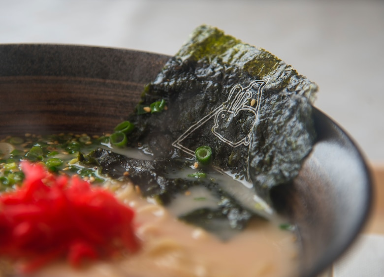 A piece of nori with a bunny print sits in a bowl of ramen at a ski resort in Hachimantai, Japan, Jan. 28, 2017. The ski resort included many restaurants varying from Japanese to Indian cuisine available for Airmen to eat after skiing or snowboarding to the bottom of the mountain. (U.S. Air Force photo by Airman 1st Class Sadie Colbert)
