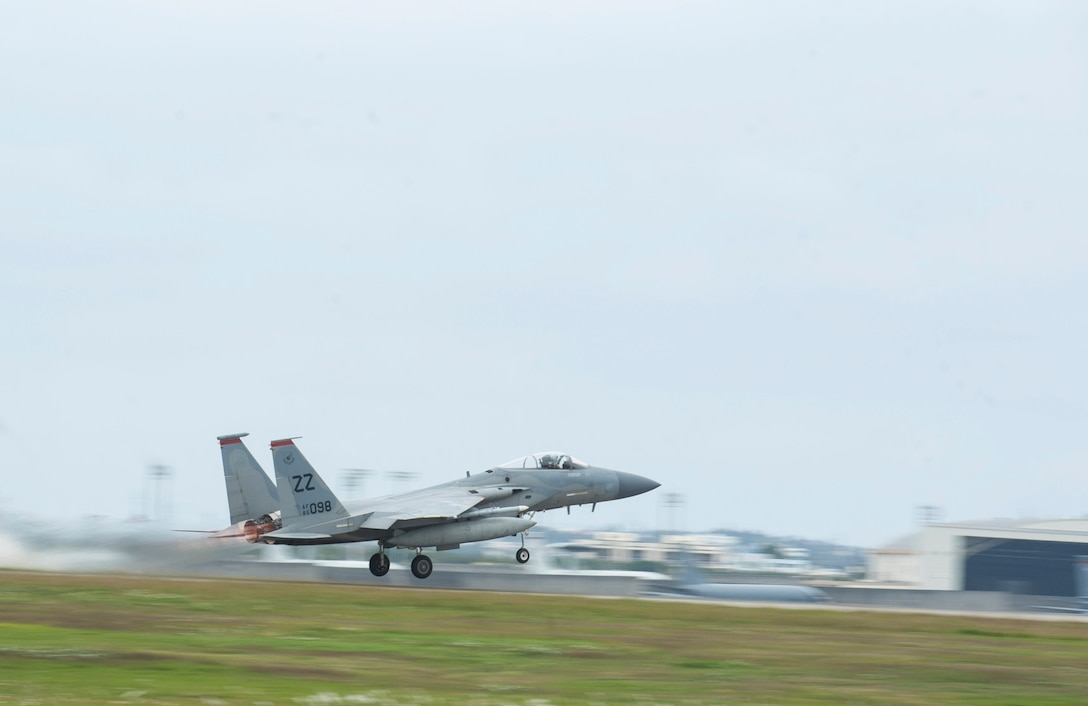 A U.S. Air Force F-15 Eagle assigned to the 67th Fighter Squadron takes off Feb. 2, 2017, at Kadena Air Base, Japan. The F-15 Eagle is a tactical fighter designed to sustain air supremacy. (U.S. Air Force photo by Senior Airman Lynette M. Rolen/Released)