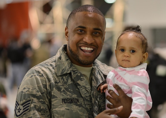 Members of the 175th Wing Maryland Air National Guard returned from a deployment in support of Operation Inherent Resolve, January 25, 2017, Baltimore-Washington International Thurgood Marshall Airport.