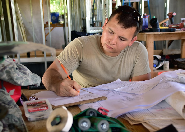 Staff Sgt. John Irving from the 143d Civil Engineering Squadron (CES), Rhode Island Air National Guard rinse creates a material list for electrical work in Inarajan, Guam during an Innovative Readiness Training (IRT) project on September 5, 2016.  The IRT project, in conjunction with Habitat for Humanity Guam is to provide two homes for residents in Inarajan.  The members are part of a 36 Airmen crew from a cross section of trades within the CES.  U.S. Air National Guard photo by Master Sgt. John V. McDonald