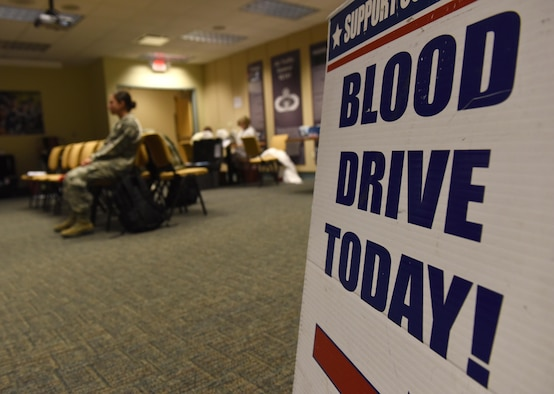 A Keesler Blood Donor Center sign sits on display during a blood drive at Cody Hall Nov. 21, 2016, on Keesler Air Force Base, Miss. The Keesler Blood Donor Center is one of three Air Force blood donor centers and supports the Armed Services Blood Program by collecting blood for the Defense Department for use in deployed locations and military treatment facilities. (U.S. Air Force photo by Senior Airman Holly Mansfield)