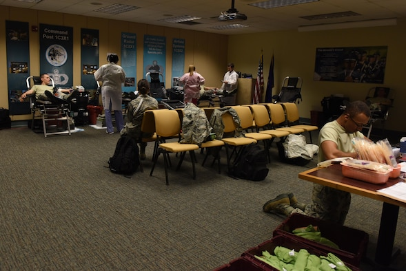 Members of Team Keesler participate in a blood drive at Cody Hall Nov. 21, 2016, on Keesler Air Force Base, Miss. The Keesler Blood Donor Center is one of three Air Force blood donor centers and supports the Armed Services Blood Program by collecting blood for the Defense Department for use in deployed locations and military treatment facilities. (U.S. Air Force photo by Senior Airman Holly Mansfield)