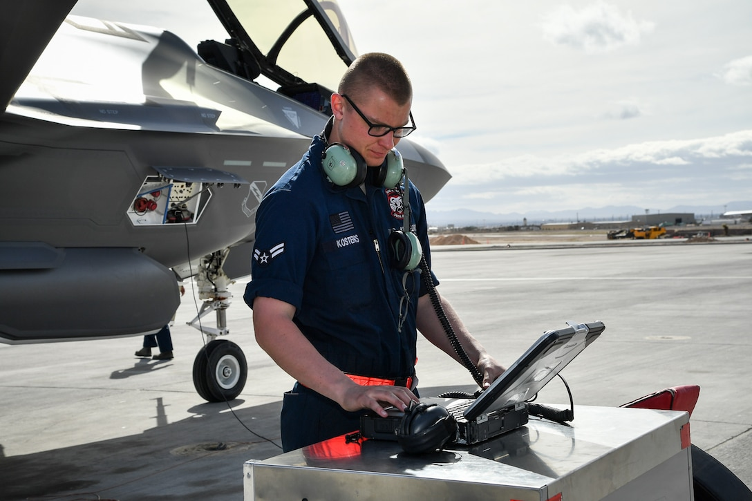Airman 1st Class Nathan Kosters, a crew chief with the 34th Aircraft Maintenance Unit, prepares to launch an F-35A Lightning II aircraft during Red Flag 17-1 at Nellis Air Force Base, Nevada, Feb. 7, 2017. (U.S. Air Force photo/R. Nial Bradshaw)