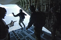 Canadian Air Force, 436th Squadron 8th Wing, delivers 5 American soldiers to their High Altitude Low Open (HALO) altitude for airbourne training during PATRIOT, July 13, 2005. PATRIOT is the largest annual exercise held across the United States. This exercise increases the warfighting capabilities of the National Guard, reserve, and active components of the Air Force and Army. Additionally, Canadian, United Kingdom, and Dutch forces are participating, increasing combined effectiveness.  (U.S. Air Force photo by Technical Sergeant Allen Pickert) (Released)