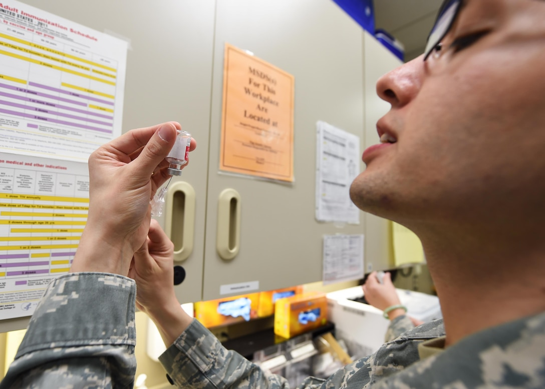 U.S. Air Force airmen from the 133rd Airlift Wing process through the 133rd Medical Group's clinic in St. Paul, Minn., Jan. 21, 2017. The airmen are preparing to deploy and are receiving the necessary immunizations, updating any dental or optical requirements, and visiting with base doctors as needed.  (U.S. Air National Guard photo by Tech. Sgt. Austen R. Adriaens/ Released)
