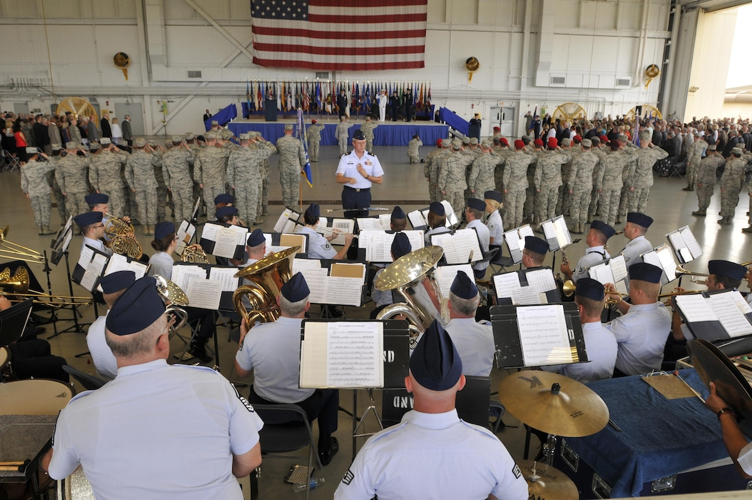 The Air National Guard Band of the South performs during the Air Force Special Operations Command change of command ceremony July 3, 2014, at Hurlburt Field Air Force Base, Fla. This was one of the band's eight performances during its summer concert series. (U.S. Air National Guard photo by Senior Master Sgt. Paul Mann/Released)