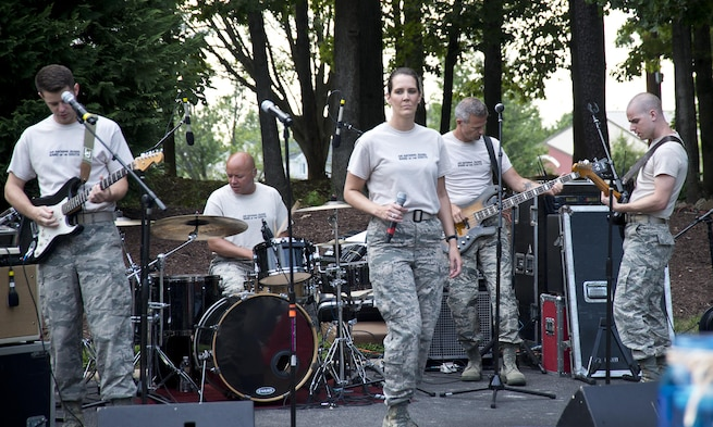 The Air National Guard Band of the South rocks out at the ANG Command Chief's Barbecue during Focus on the Force Week on Joint Base Andrews, Md., August 4, 2016. Focus on the Force Week is a series of events highlighting the importance of professional development for Airmen at all levels and celebrating the accomplishments of the enlisted corps. (U.S. Air National Guard photo by Staff Sgt. John Hillier)