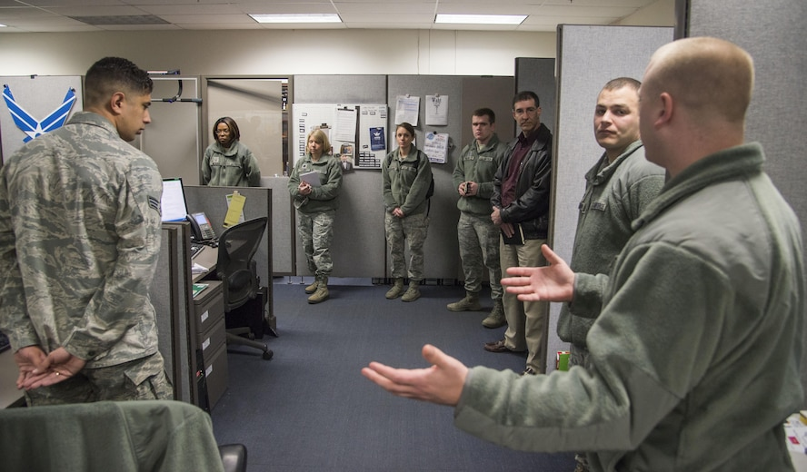 Members of the Cyberworx team were given an abundance of information during their visit to Scott Air Force Base Feb. 3. The team met with the 375th Communications Group, the 688th Cyber Operations group and the 618th Air operations Center. U.S. Air Force photo by Airman Chad Gorecki