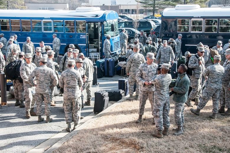 More than 200 members of the D.C. Air National Guard return home Feb. 8 after a 120-day deployment to Andersen Air Force Base, Guam, in support of the Pacific Command Theater mission. (U.S. Army National Guard photo by Staff Sgt. Aimee Fujikawa/Released)