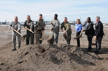 The 165th Airlift Wing hosted a ground breaking ceremony for the new Squadron Operations building near the flight line Jan. 4, 2017. (U.S. Air National Guard photo by Tech. Sgt. Amber Williams)