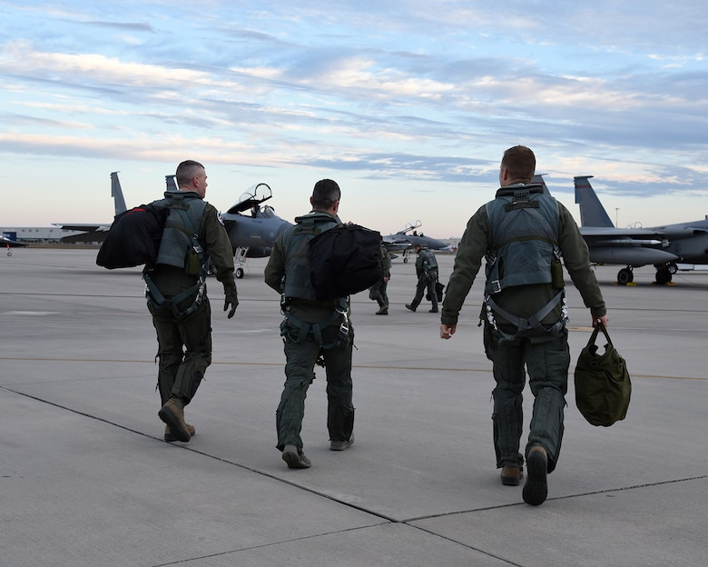 Pilots from the 123rd Fighter Squadron, prepare for a training mission from the Air Dominance Center, Savannah Ga., Jan. 28, 2017.  (U.S. Air National Guard photo by Senior Master Sgt. Shelly Davison, 142nd Fighter Wing Public Affairs)