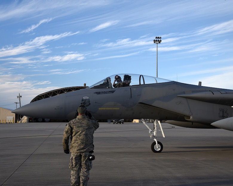 F-15 Eagles assigned to the 142nd Fighter Wing taxi for a training mission from the Air Dominance Center, Savannah Ga., Jan. 28, 2017.  (U.S. Air National Guard photo by Senior Master Sgt. Shelly Davison, 142nd Fighter Wing Public Affairs)