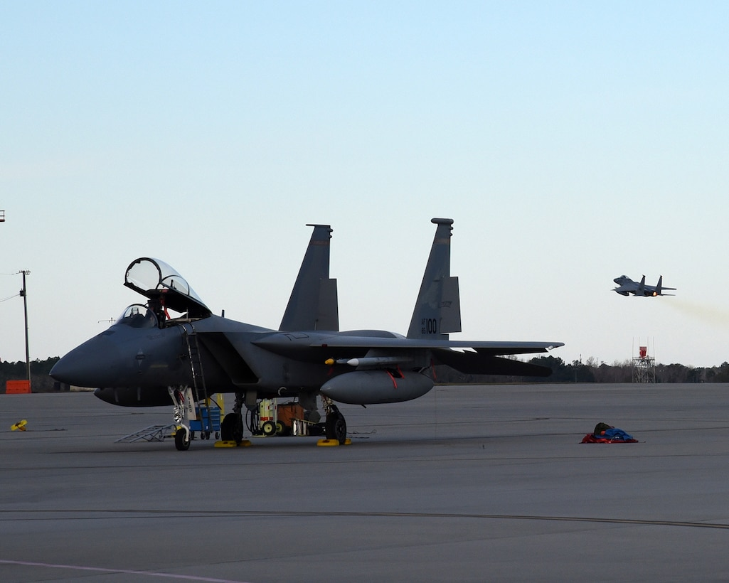F-15 Eagles assigned to the 142nd Fighter Wing launch for a training mission from the Air Dominance Center, Savannah Ga., Jan. 28, 2017.  (U.S. Air National Guard photo by Senior Master Sgt. Shelly Davison, 142nd Fighter Wing Public Affairs)
