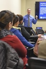 Keith Dorr, Mount Laurel Citizenship and Immigration Services, conducts a naturalization seminar at the Military Family Support Center on Joint Base McGuire-Dix-Lakehurst, New Jersey, Feb. 7, 2016. The seminar answered questions about the application process but primarily focused on the benefits CAIS can provide servicemembers.