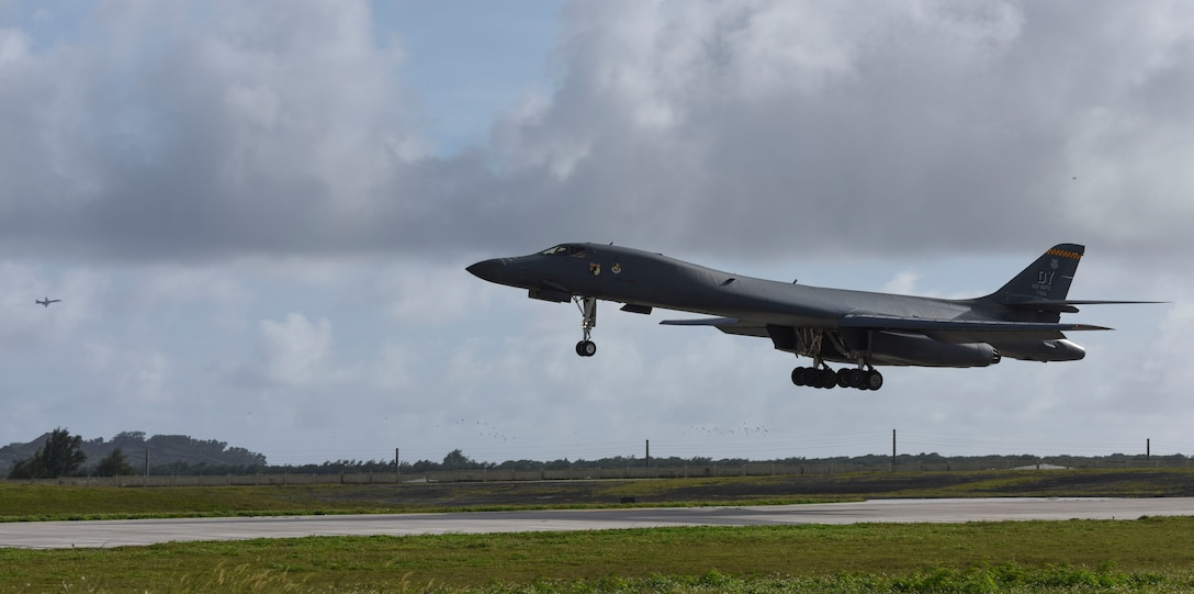 A U.S. Air Force B-1B Lancer assigned to the 9th Expeditionary Bomb Squadron, deployed from Dyess Air Force Base, Texas, lands Feb. 6, 2017, at Andersen AFB, Guam. The 9th EBS is taking over U.S. Pacific Command's Continuous Bomber Presence operations from the 34th EBS, assigned to Ellsworth Air Force Base, S.D. The B-1B's blended wing/body configuration, variable-geometry wings and turbofan afterburning engines, combine to provide long range, maneuverability and high speed while enhancing survivability. The rotation of aircraft in support is specifically designed to demonstrate the U.S.'s commitment to the Indo-Asia-Pacific region and enhance routine transiting in international airspace throughout the Pacific. (U.S. Air Force photo by Tech. Sgt. Richard P. Ebensberger/Released)