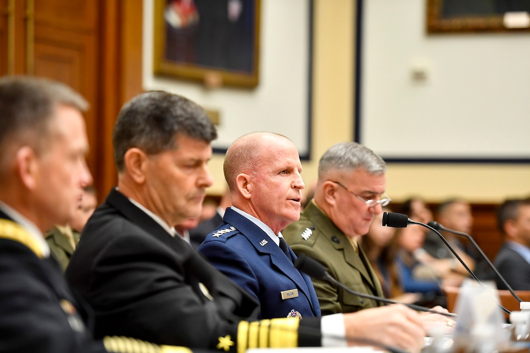 """Air Force Vice Chief of Staff Gen. Stephen Wilson testifies before the House Armed Services Committee Feb. 7, 2017, in Washington, D.C.  Wilson and the vice service chiefs from the Army, Navy and Marine Corps presented the """"State of the Military"""" to the committee.  (U.S. Air Force photo/Scott M. Ash)"""