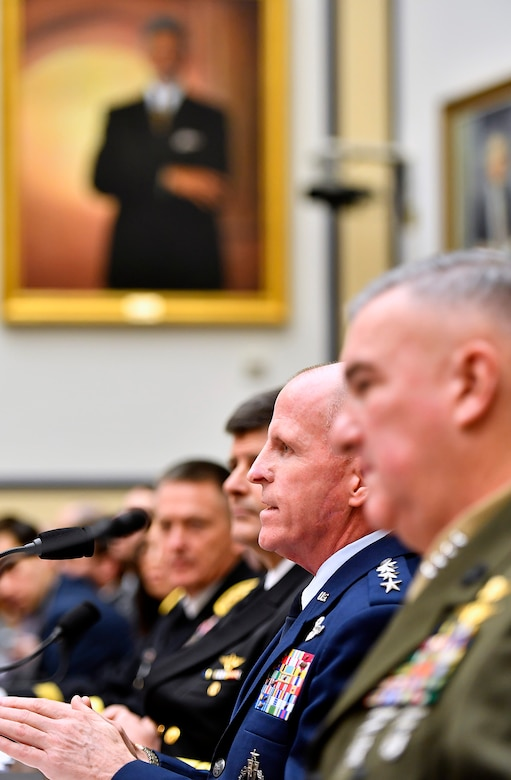 "Air Force Vice Chief of Staff Gen. Stephen Wilson testifies before the House Armed Services Committee Feb. 7, 2017, in Washington, D.C.  Wilson and the vice service chiefs from the Army, Navy and Marine Corps presented the ""State of the Military"" to the committee.  (U.S. Air Force photo/Scott M. Ash)"