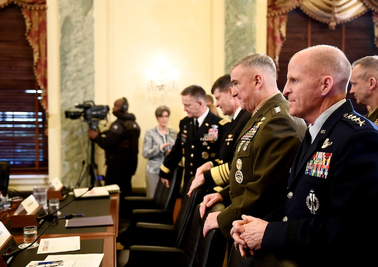 Air Force Vice Chief of Staff Gen. Stephen Wilson testifies before the Senate Armed Services Subcommittee on Readiness and Management Support, Feb. 8, 2017, in Washington, D.C.  Wilson shared the witness panel with the vice service chiefs from the Army, Navy and Marine Corps.  (U.S. Air Force photo/Scott M. Ash)