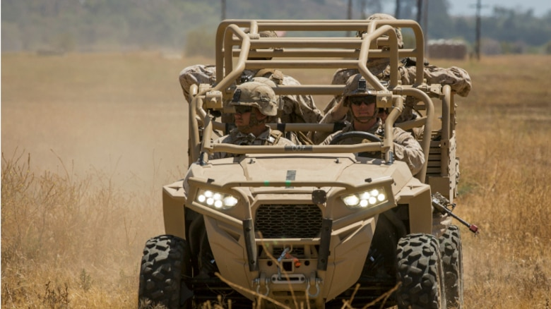 The Marine Corps Program Executive Officer Land Systems is expected to deliver 144 Utility Task Vehicles to the regiment-level starting in February 2017. The rugged all-terrain vehicle can carry up to four Marines or be converted to haul 1,500 pounds of supplies. With minimal armor and size, the UTV can quickly haul extra ammunition and provisions, or injured Marines, while preserving energy and stealth.