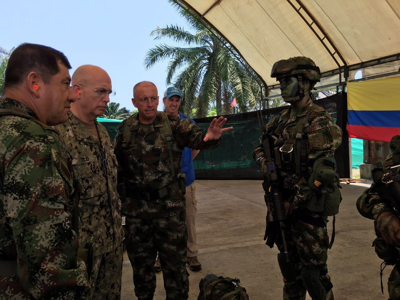TUMACO, Colombia (April 20, 2016) -- Navy Adm. Kurt W. Tidd, commander of U.S. Southern Command, is briefed on the equipment used by an elite Colombian Army unit in their efforts to disrupt narco-traffickers in the country.  Tidd was in Colombia April 21 - 22 to meet with military leadership there and get a firsthand look at Colombia military troops on the front lines of efforts to disrupt the activities of narco-traffickers and illegally armed groups. (Photo courtesy of the Colombian Armed Forces)