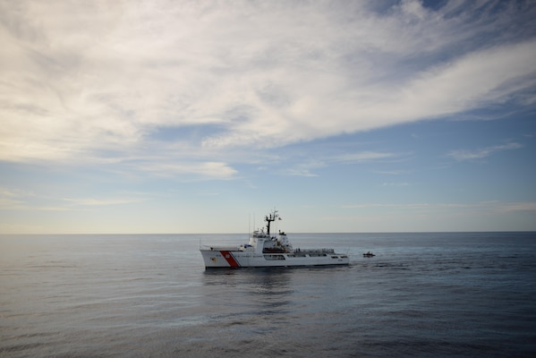 EASTERN PACIFIC OCEAN – The Coast Guard Cutter Diligence patrols the waters of the Eastern Pacific Ocean, Jan. 9, 2017. Diligence is on an Eastern Pacific patrol conducting alien migrant interdiction operations, domestic fisheries protection, search and rescue, counter-narcotics and other Coast Guard missions at great distances from shore keeping threats far from the U.S. mainland. (FOR RELEASE U.S. Coast Guard photo Chief Warrant Officer Allyson E.T. Conroy)