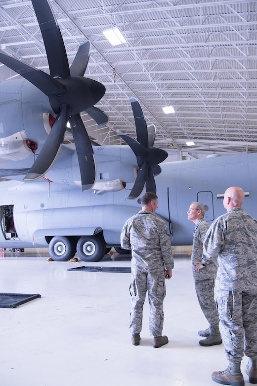 Maj. Gen. Robert LaBrutta, 2nd Air Force commander, and other 2nd Air Force and 81st Training Wing leaders tour the isochronal inspection dock during a 403rd Wing immersion tour Feb. 3 at Keesler Air Force Base, Mississippi. (U.S. Air Force photo/Staff Sgt. Heather Heiney)
