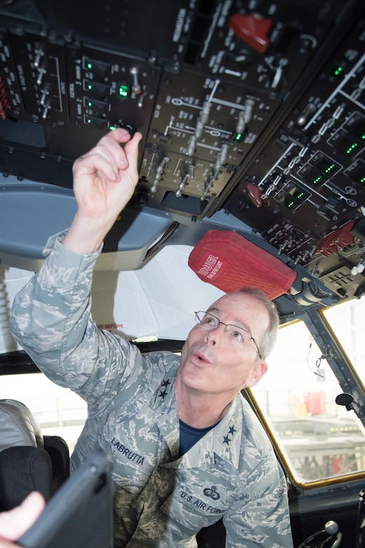 Maj. Gen. Robert LaBrutta, 2nd Air Force commander, turns on a C-130J Super Hercules aircraft for maintenance inspections during a 403rd Wing immersion tour Feb. 3 at Keesler Air Force Base, Mississipi. (U.S. Air Force photo/Staff Sgt. Heather Heiney)